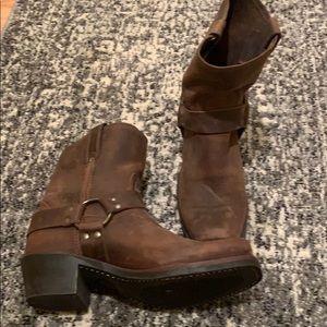 "Frye ""harness"" short boot."